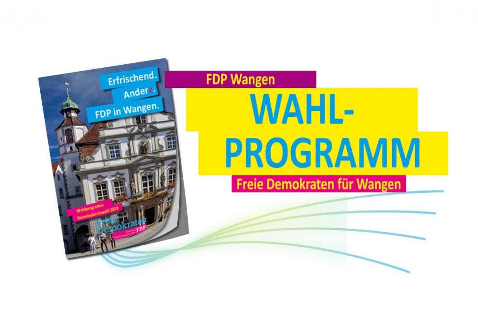 Bild mit Abbildung des FDP Wahlprogramms zur Gemeinderatswahl 2019 in Wangen im Allgäu.