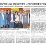 Zeitungsbericht über die Nomienierung der Gemeinderatsliste 2019 für Wangen, Ausgabe Wangen der Schwäbischen Zeitung vom 07. Februar 2019.