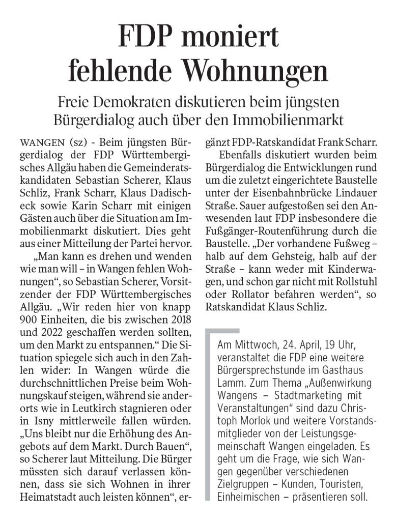 Zeitungsartikel Schwäbische Zeitung vom 18. April 2019 zur FDP Bürgersprechstunde zum Thema Wohnungen und dem schlechten Fußweg durch die Baustelle Lindauer Straße.