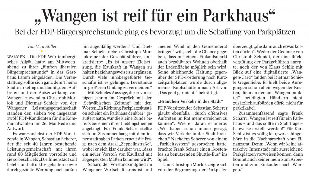 Zeitungsartikel Schwäbische Zeitung - FDP Bürgersprechstunde - Wangen ist reif für ein Parkhaus vom 27. April 2019, Ausgabe Wangen