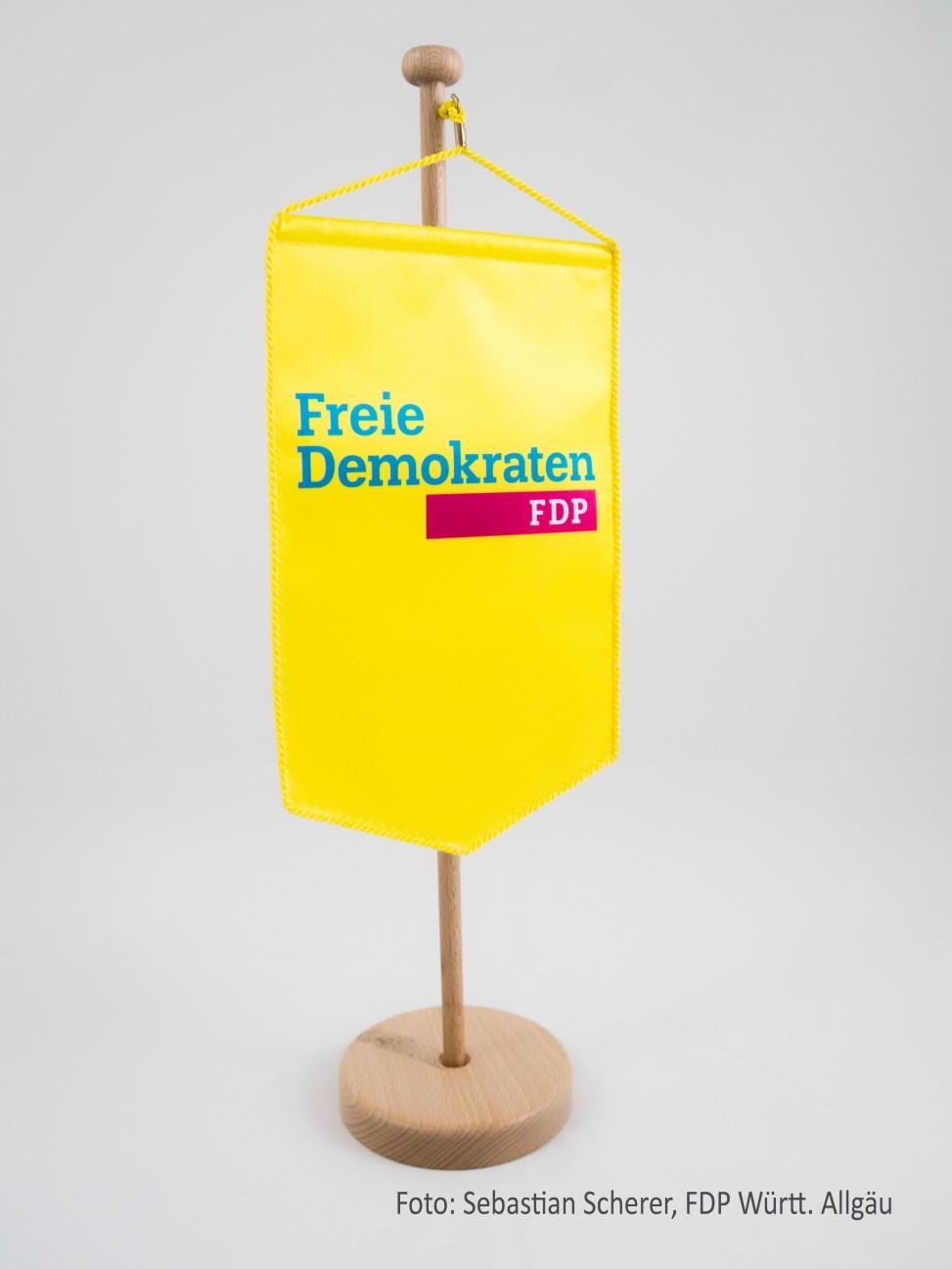 Wimpel der FDP Württembergisches Allgäu. Ihre FDP vor Ort in Wangen, Leutkirch und Isny.