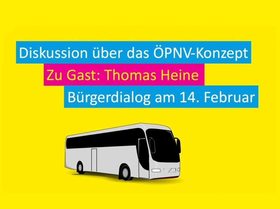 Veranstaltungsheader zum dritten Bürgerdialog der FDP Wangen zur Gemeinderatswahl 2019. Diskussion zum Thema Stadtbus und ÖPNV mit Gast Thomas Heine.